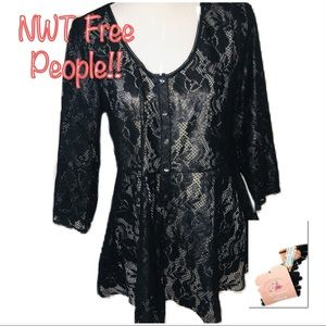 • FREE PEOPLE | NWT | Black Lace Blouse •